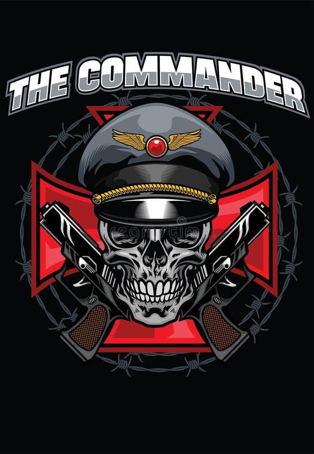 Projeto do comandante do crânio ilustração stock