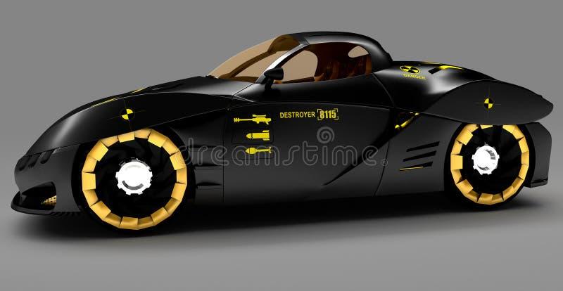 Projeto do conceito do carro da cidade em um estilo futurista ilustração 3D ilustração stock