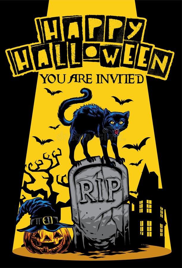 Projeto do convite de Dia das Bruxas com o gato que está na parte superior do túmulo ilustração royalty free