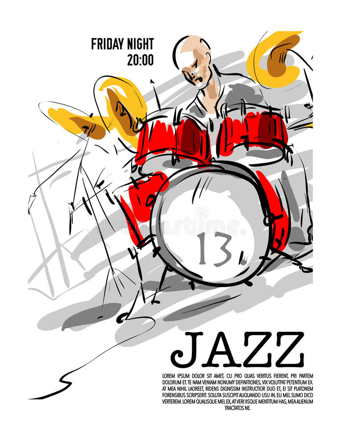 Projeto do convite do partido da música jazz ilustração stock