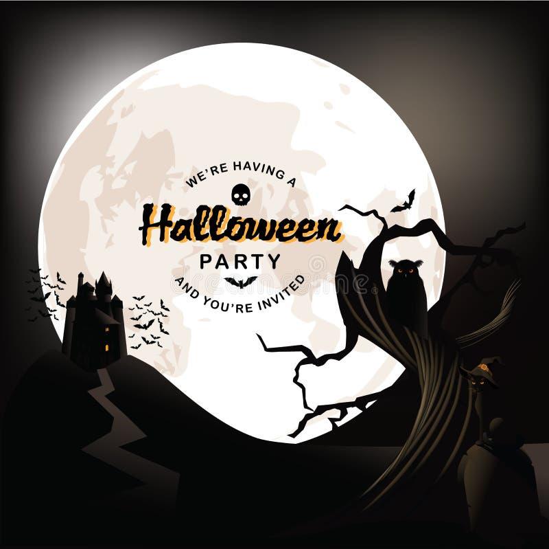 Projeto do convite do partido de Misty Halloween ilustração do vetor
