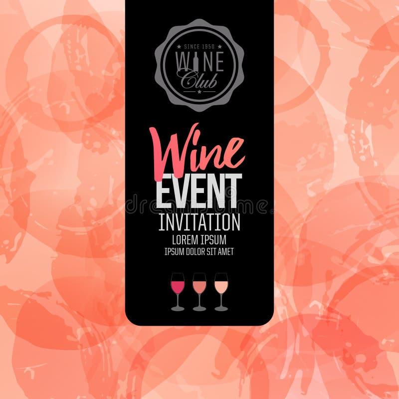 Projeto do convite, do folheto ou da bandeira para seus eventos do vinho ilustração royalty free
