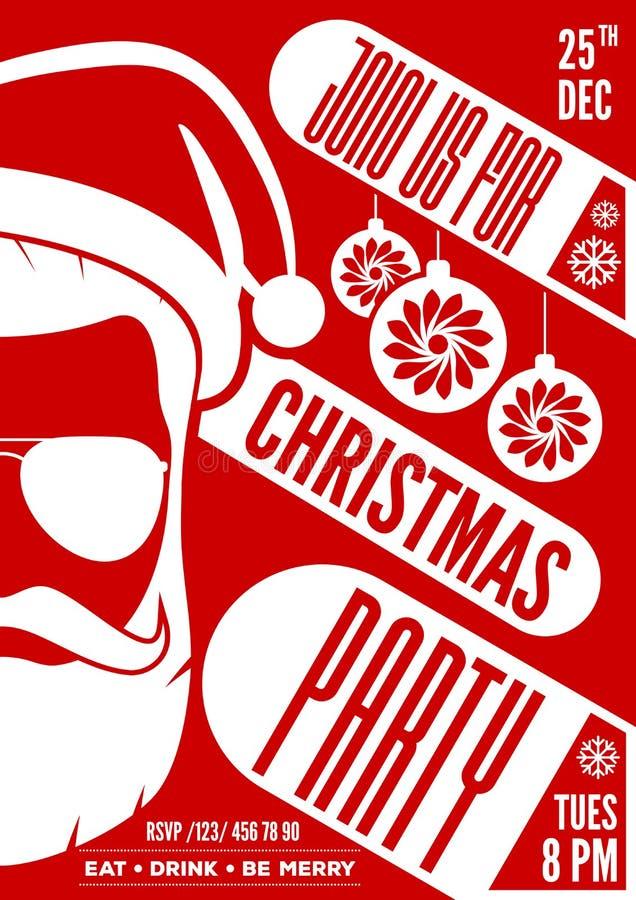 Projeto do convite, do inseto ou do cartaz da festa de Natal com chapéu, barba e vidros de Santa Claus ilustração stock