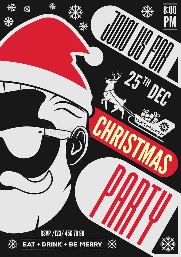 Projeto do convite, do inseto ou do cartaz da festa de Natal com chapéu, barba e vidros de Santa Claus ilustração royalty free