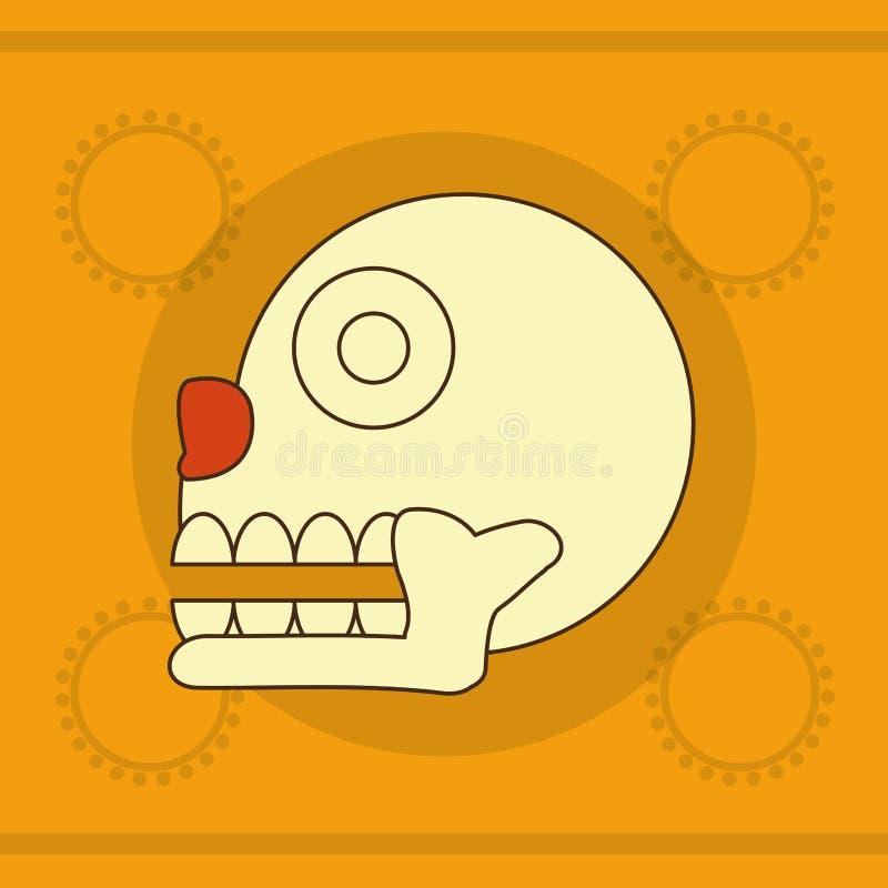 Projeto do crânio do Maya ilustração do vetor