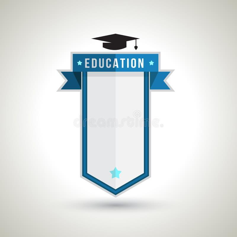Projeto do crachá da educação para criar o plano do estudo ilustração stock