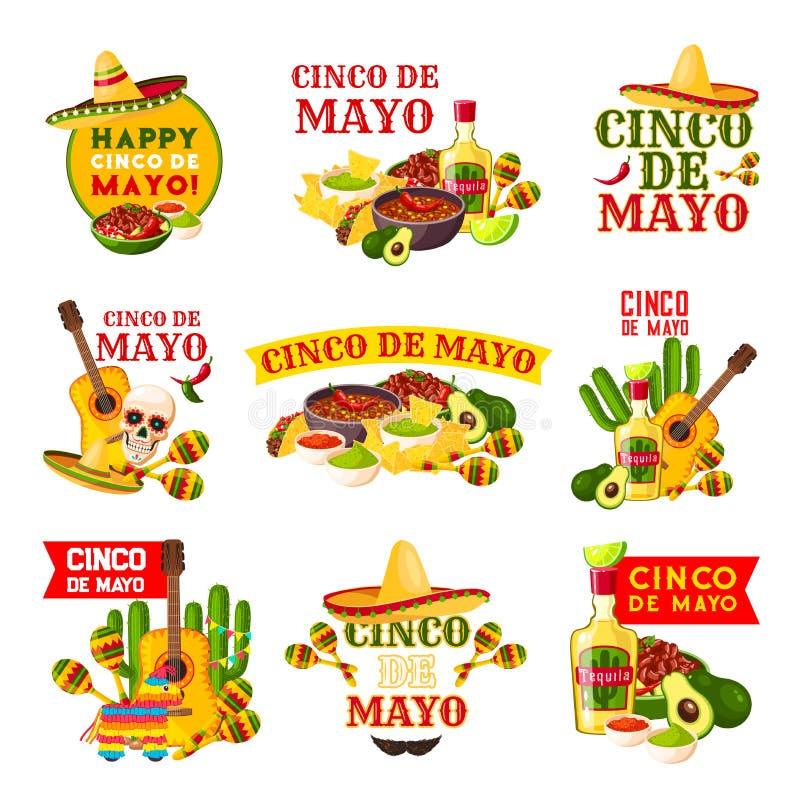 Projeto do crachá do partido da festa de Cinco de Mayo do mexicano ilustração do vetor