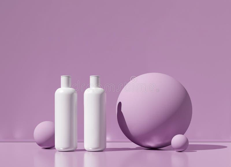 Projeto do creme cosmético natural, soro, empacotamento vazio da garrafa do skincare Bio produto orgânico Beleza e conceito dos t ilustração stock