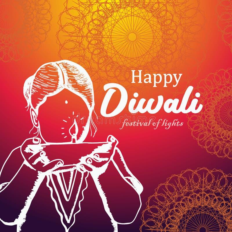 Projeto do cumprimento de Diwali com tema e mão coloridos mulheres tiradas de uma criança que dão um diya ardente ilustração do vetor
