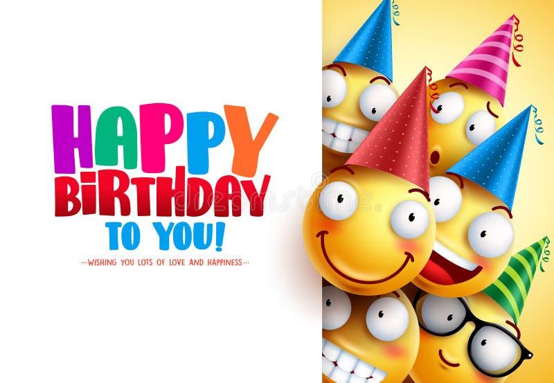 Projeto do cumprimento do vetor do aniversário dos smiley com emoções engraçadas e felizes amarelas ilustração do vetor