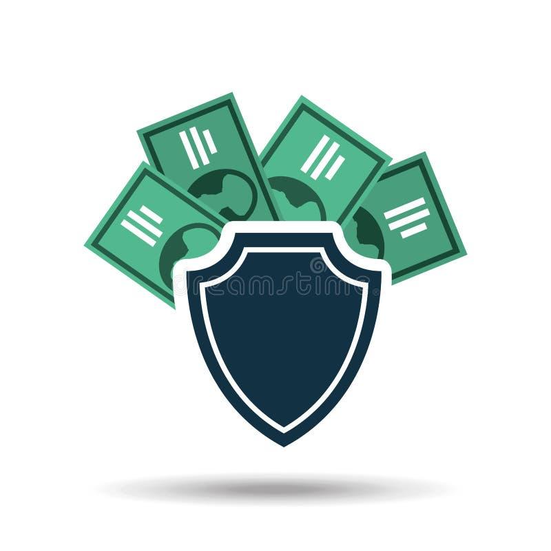 projeto do dólar da conta de dinheiro da segurança da proteção do conceito ilustração royalty free