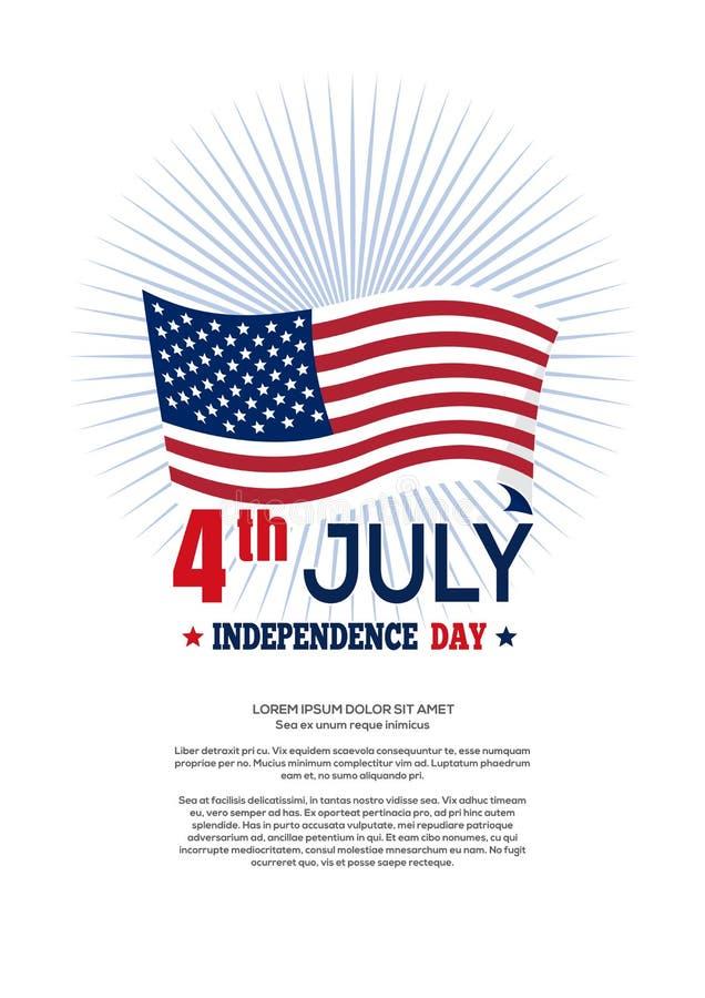 Projeto do Dia da Independência dos E.U. Quarto de julho ilustração do vetor