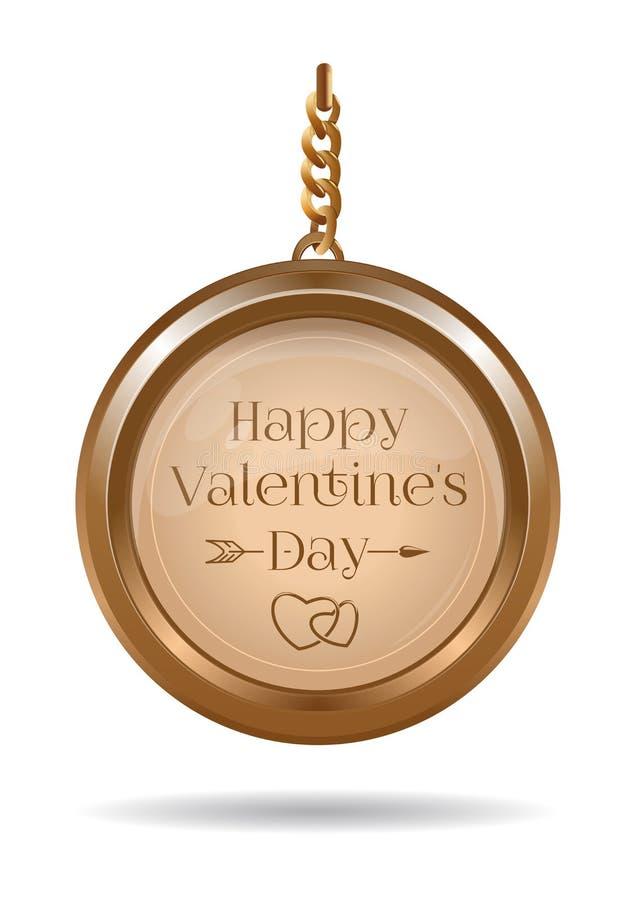 Projeto do dia de Valentim com medalhão do ouro em uma corrente ilustração royalty free