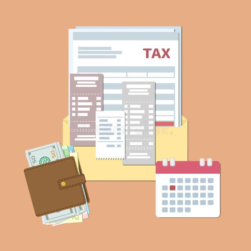 Projeto do dia do imposto Impostos estaduais e faturas do pagamento Envelope aberto com imposto, verificações, contas, bolsa com  ilustração stock