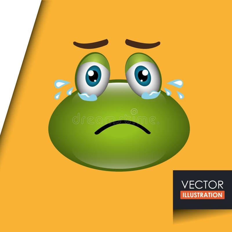 projeto do emoticon da rã ilustração do vetor