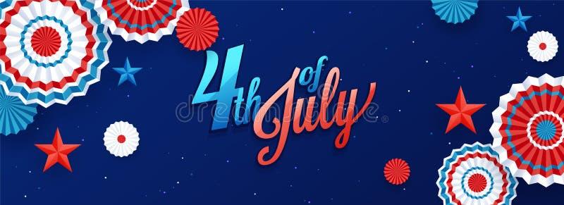 projeto do encabeçamento da celebração de 4o julho, de Dia da Independência ou da bandeira decorado com estrelas e crachá na ilustração do vetor