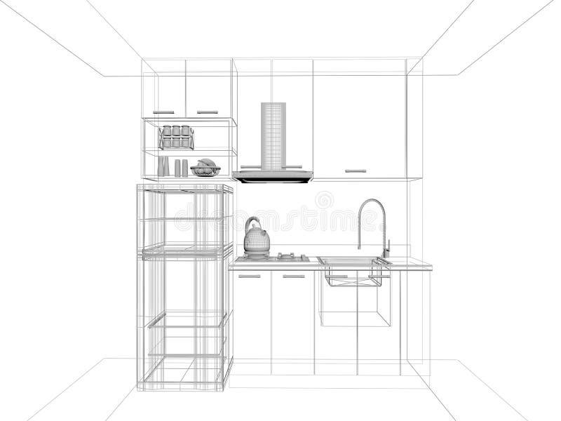 Projeto do esboço da cozinha ilustração stock