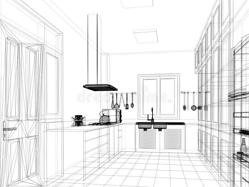 Projeto do esboço da cozinha interior ilustração do vetor