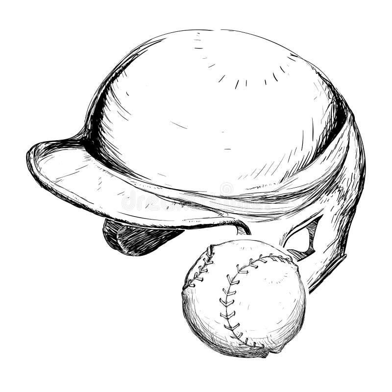 Projeto do esporte do basebol da bola do capacete ilustração stock