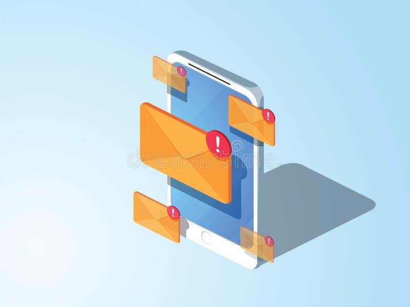 projeto do estilo 3d Email que introduz no mercado o conceito isométrico liso ilustração do vetor