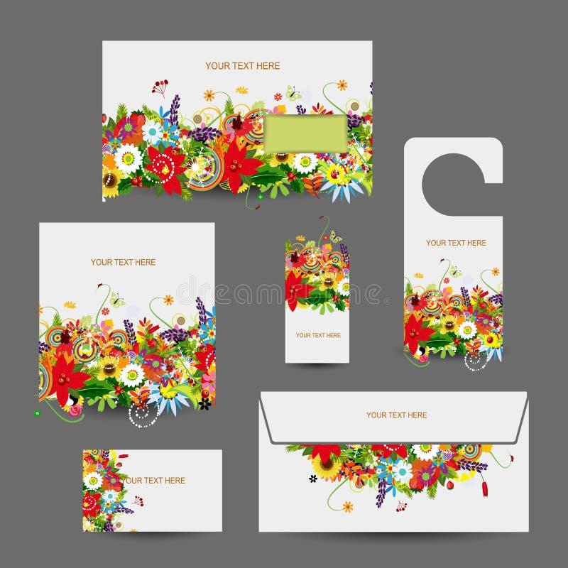 Projeto do estilo da empresa: envelope, cartões, ilustração stock