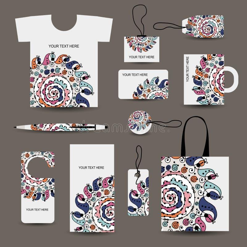 Projeto do estilo da empresa: tshirt, etiquetas, ilustração do vetor
