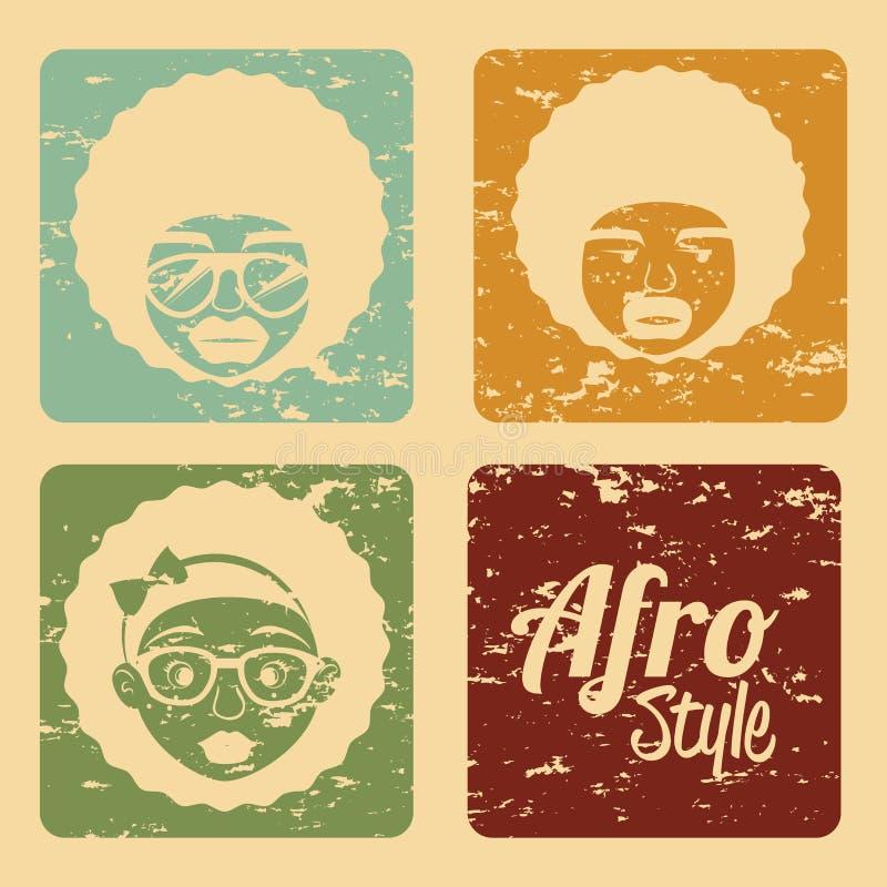 Projeto do estilo do Afro ilustração do vetor