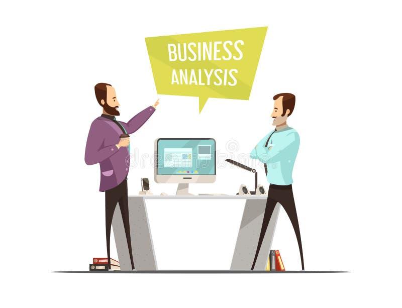 Projeto do estilo dos desenhos animados da análise de negócio ilustração royalty free