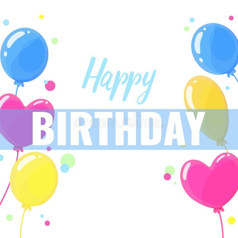 Projeto do feliz aniversario para cartões e cartaz com balão ilustração stock