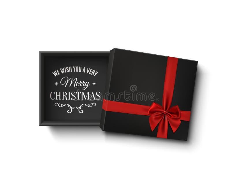 Projeto do Feliz Natal Caixa de presente vazia preta aberta com fita vermelha ilustração stock