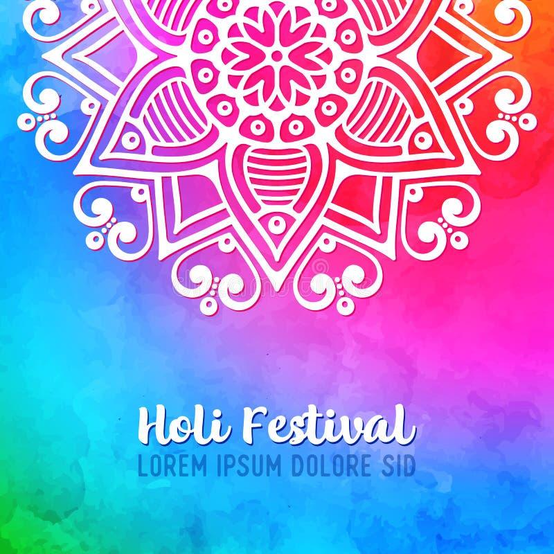 Projeto do feriado de Holi com respingo colorido da aquarela ilustração stock