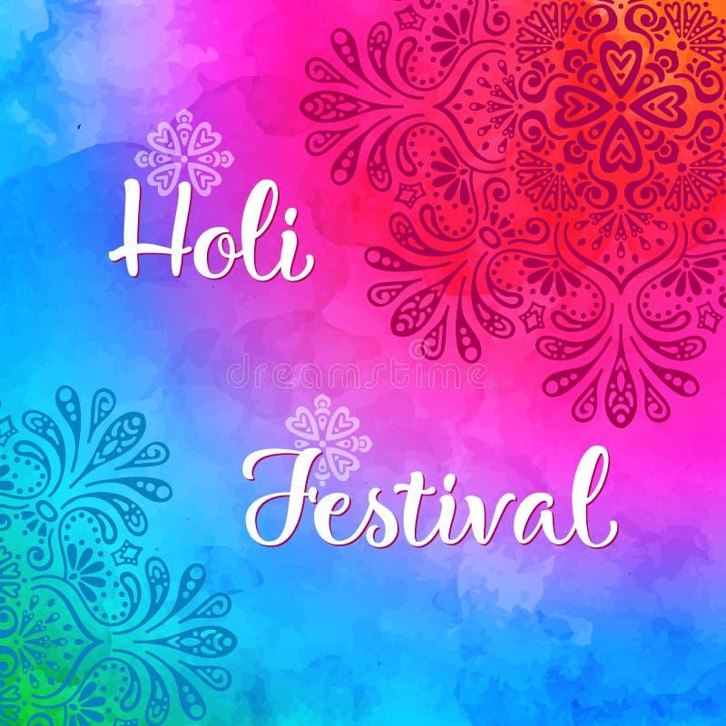 Projeto do feriado de Holi com respingo colorido da aquarela ilustração do vetor