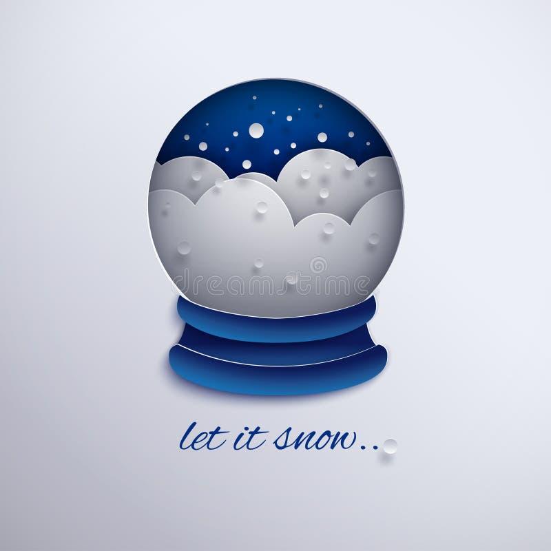 Projeto do feriado do Natal, decoração de papel com flocos de neve, monte de neve do globo da neve do entalhe, fundo azul para o  ilustração royalty free