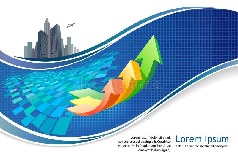 Projeto do folheto do crescimento do negócio do City-scape ilustração stock