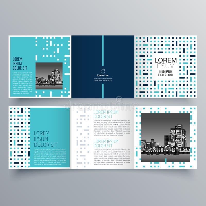 Projeto do folheto, molde do folheto, dobrável em três partes criativo, folheto da tendência ilustração do vetor