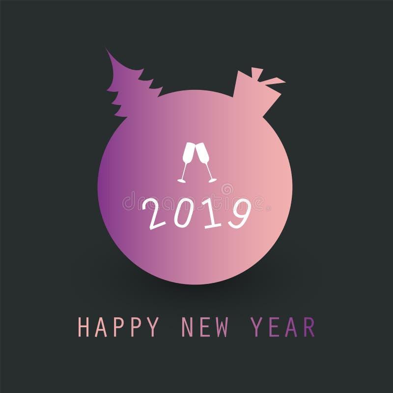 Projeto do fundo do cartão do ano novo - 2019 ilustração stock