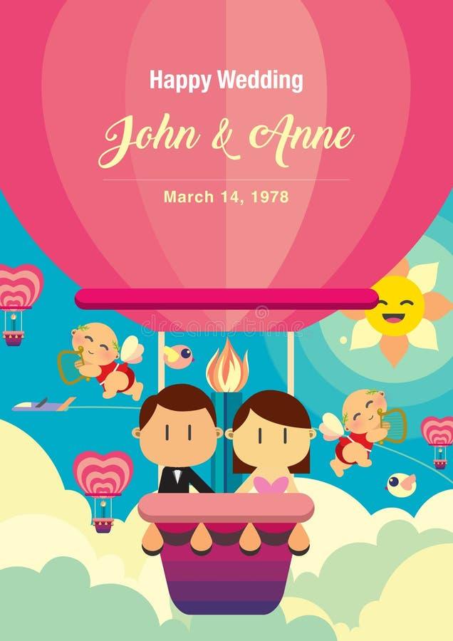 Projeto do fundo do casamento O par está no balão de ar quente ilustração royalty free