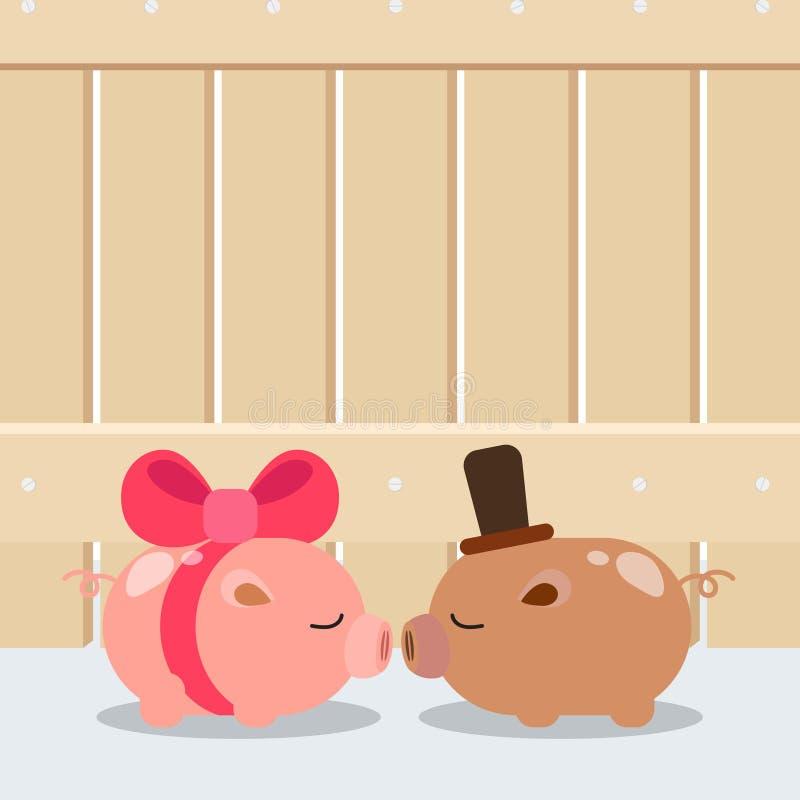 Projeto do fundo do casamento O porco bonito dos pares ilustração royalty free