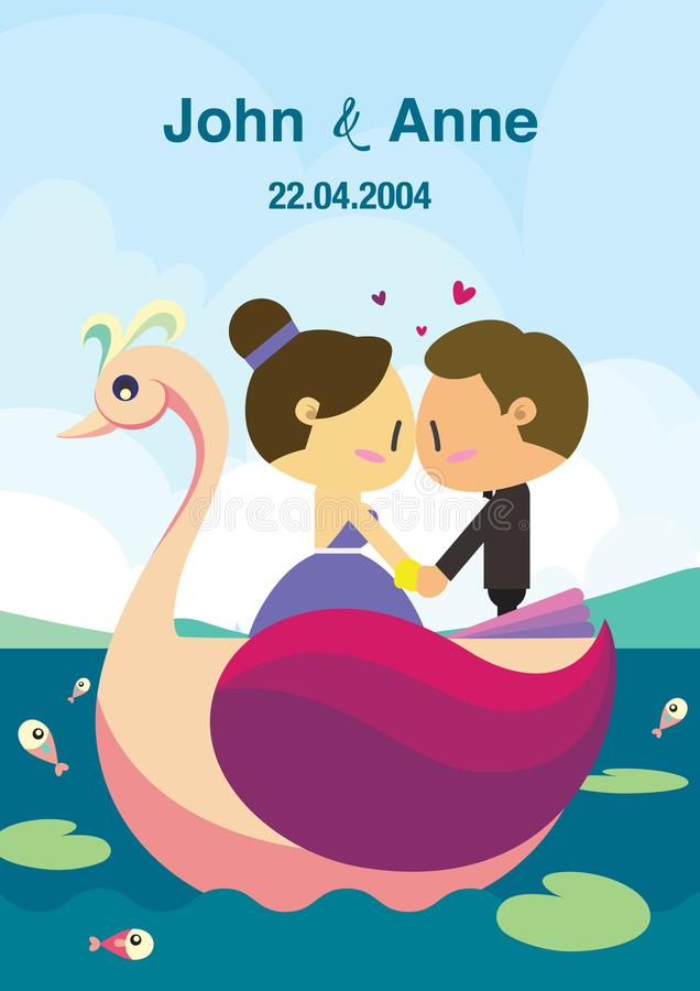 Projeto do fundo do casamento Os pares no barco da cisne ilustração do vetor