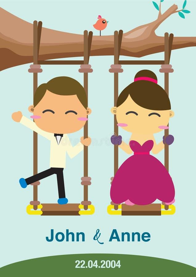 Projeto do fundo do casamento Os pares que jogam o balanço ilustração stock