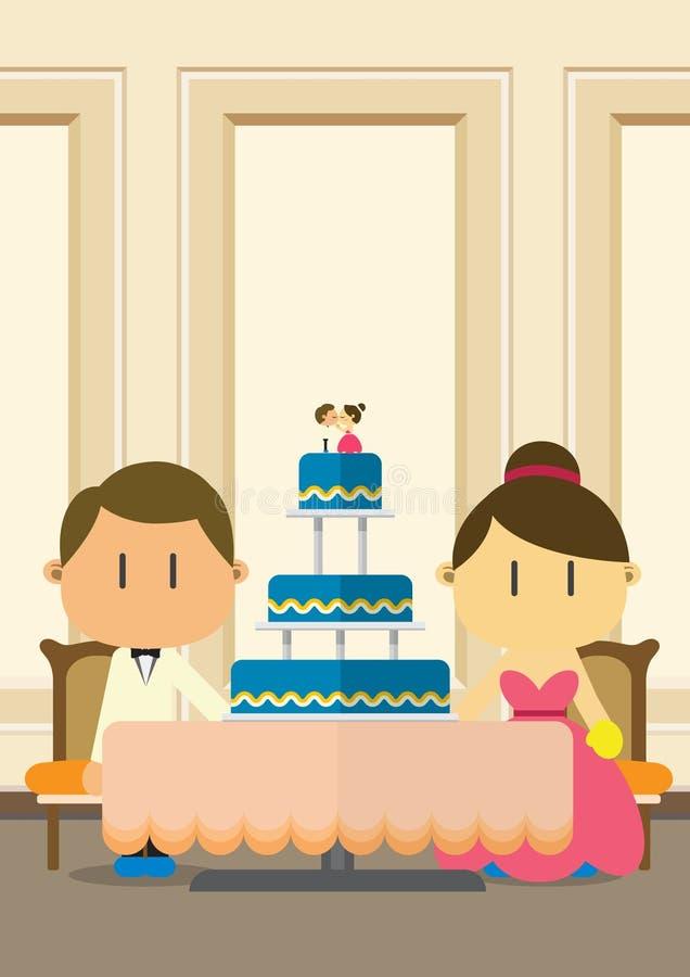 Projeto do fundo do casamento Pares de lado a lado com bolo de casamento Pode ser o uso para o convite do casamento ilustração do vetor
