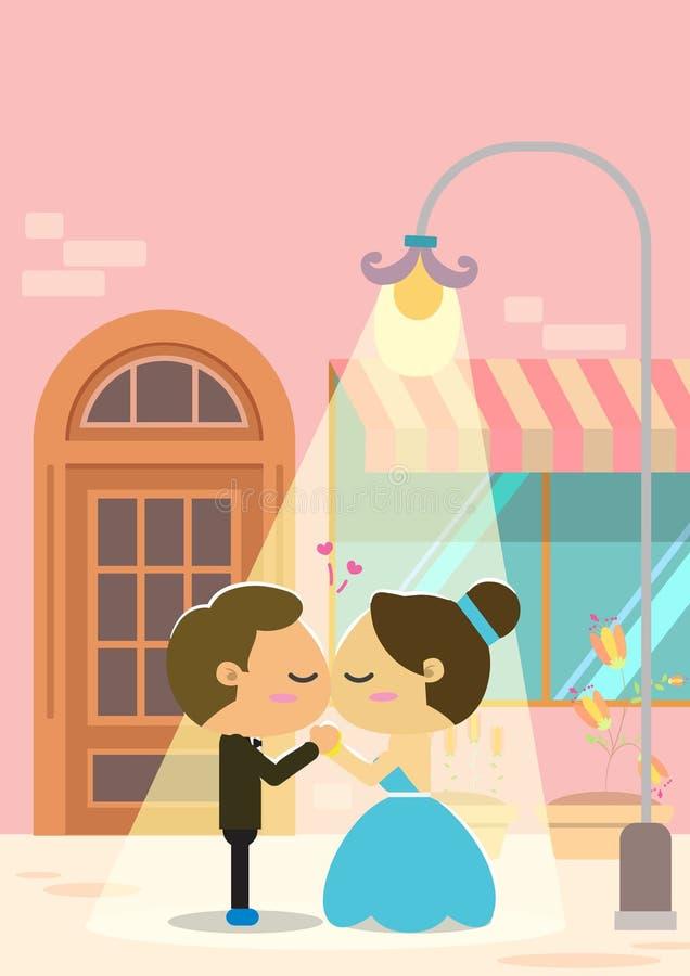 Projeto do fundo do casamento Pares que beijam sob uma luz de rua ilustração royalty free