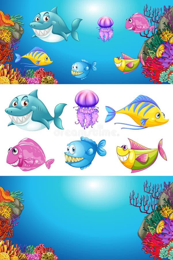 Projeto do fundo com muitos animais de mar ilustração do vetor