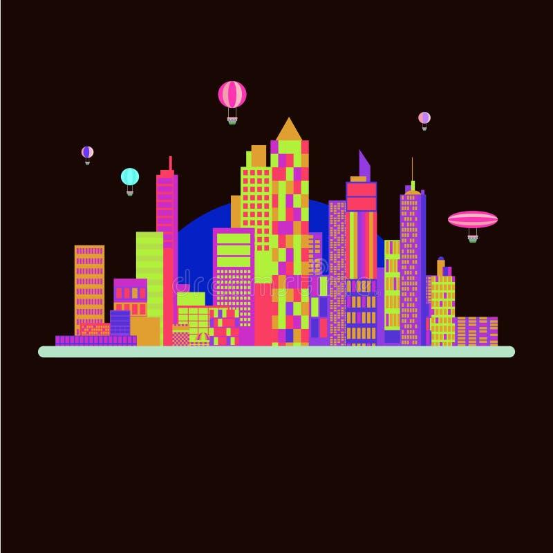 Projeto do fundo da cidade com cor de néon ilustração royalty free
