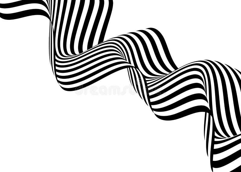 Projeto do fundo da onda da listra com linhas preto e branco arte 3d op ótica Ilustração do vetor ilustração do vetor