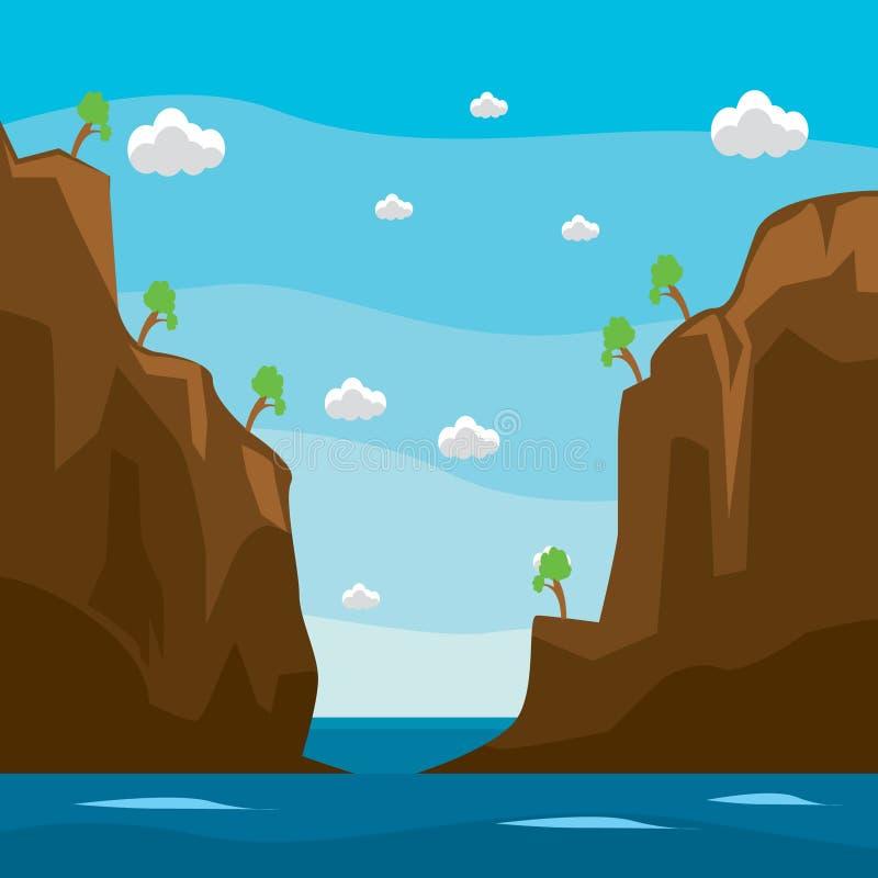 Projeto do fundo de opiniões e de penhascos do mar em um estilo liso na perspectiva dos céus claros, das nuvens brancas e das árv ilustração royalty free