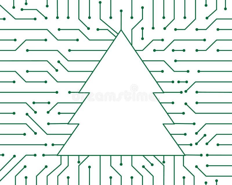 Projeto do fundo do sumário da tecnologia do vetor do circuito do verde da árvore de Natal ilustração stock