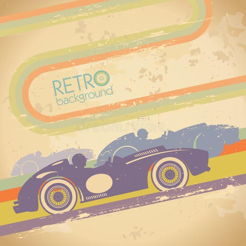 Projeto do Grunge com carro retro. ilustração do vetor