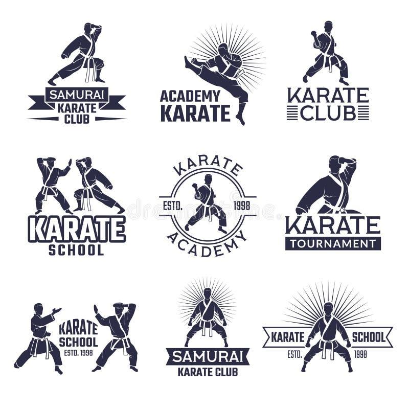 Projeto do grupo de etiquetas marcial do esporte Crachás monocromáticos isolado ajustado no branco ilustração do vetor