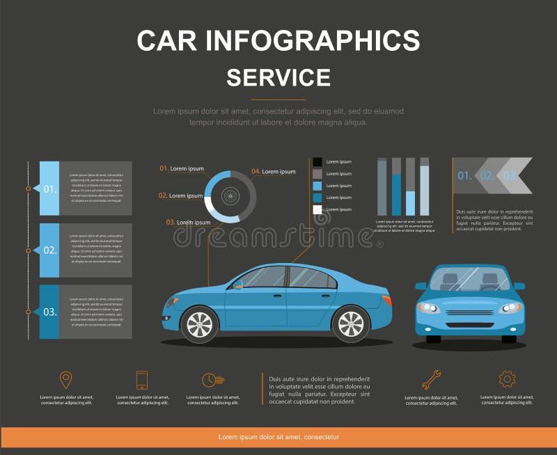 Projeto do infographics do serviço do carro auto Negócio infographic com carro foto de stock royalty free
